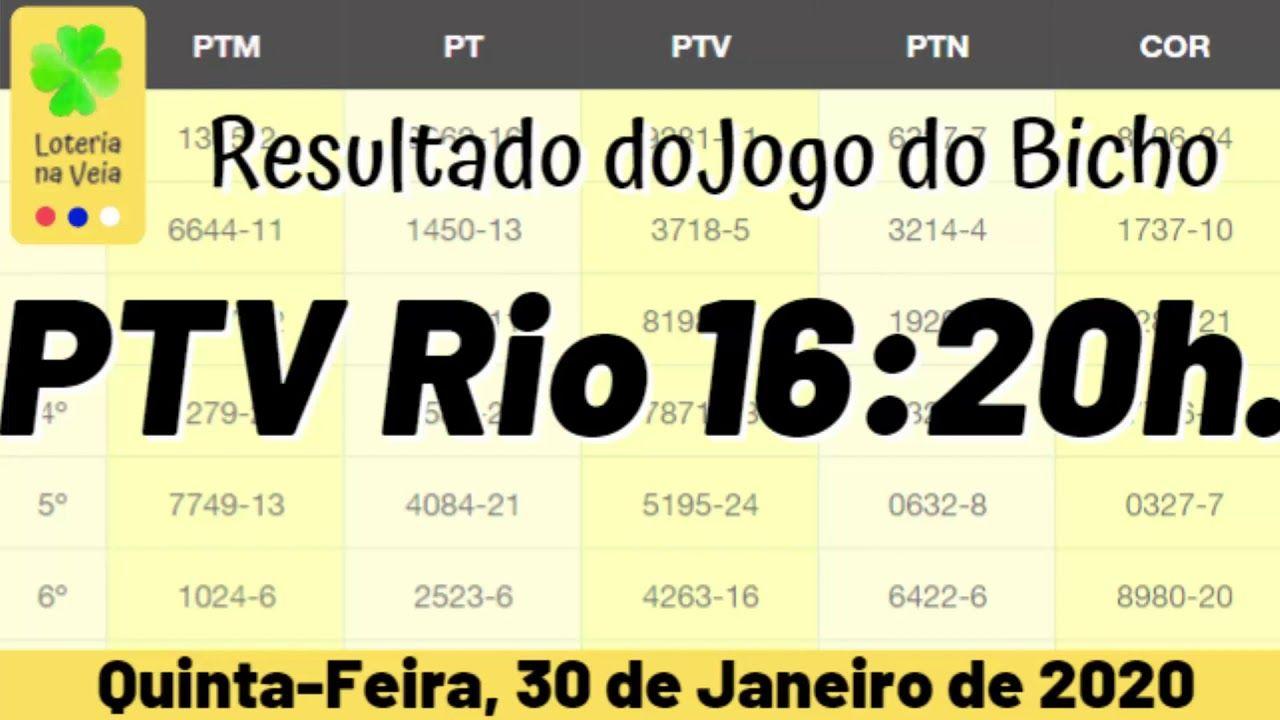 Ptv Rj Resultado Jogo Do Bicho 16 Hs 30 01 2020 Quinta Feira Em