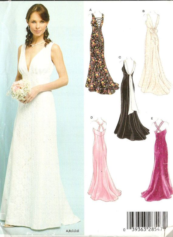 New Look 6401 Misses\' Formal, Wedding or Prom Dress Sewing Pattern 8 ...