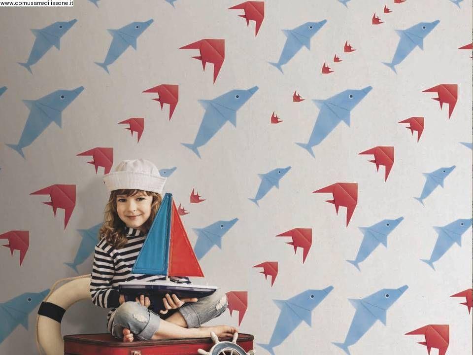 Carta da parati per cameretta con pesci e delfini for Carta parati ragazzi