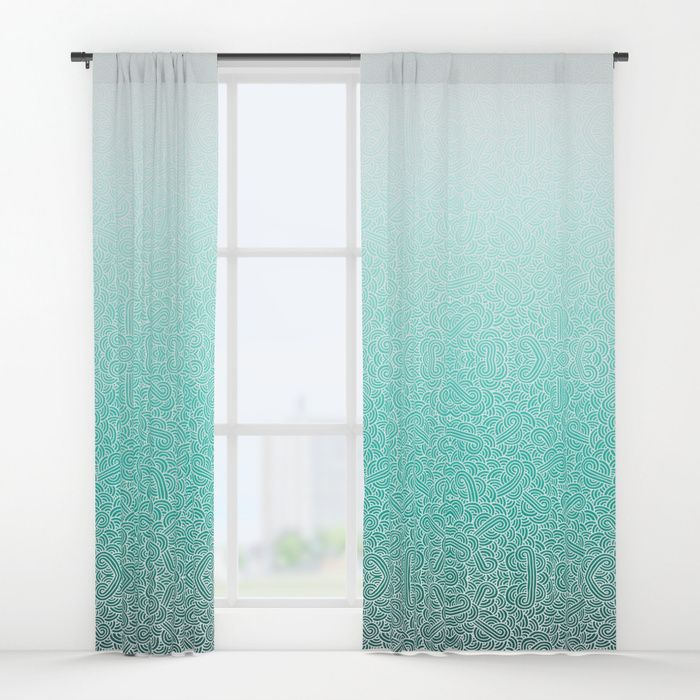 Buy Ombre turquoise blue and white swirls doodles Window Curtains by - cortinas azules