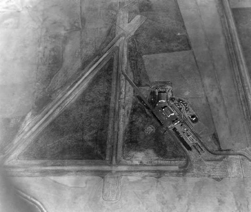 A Circa Late 1940s-50s Aerial View Looking East At Sky