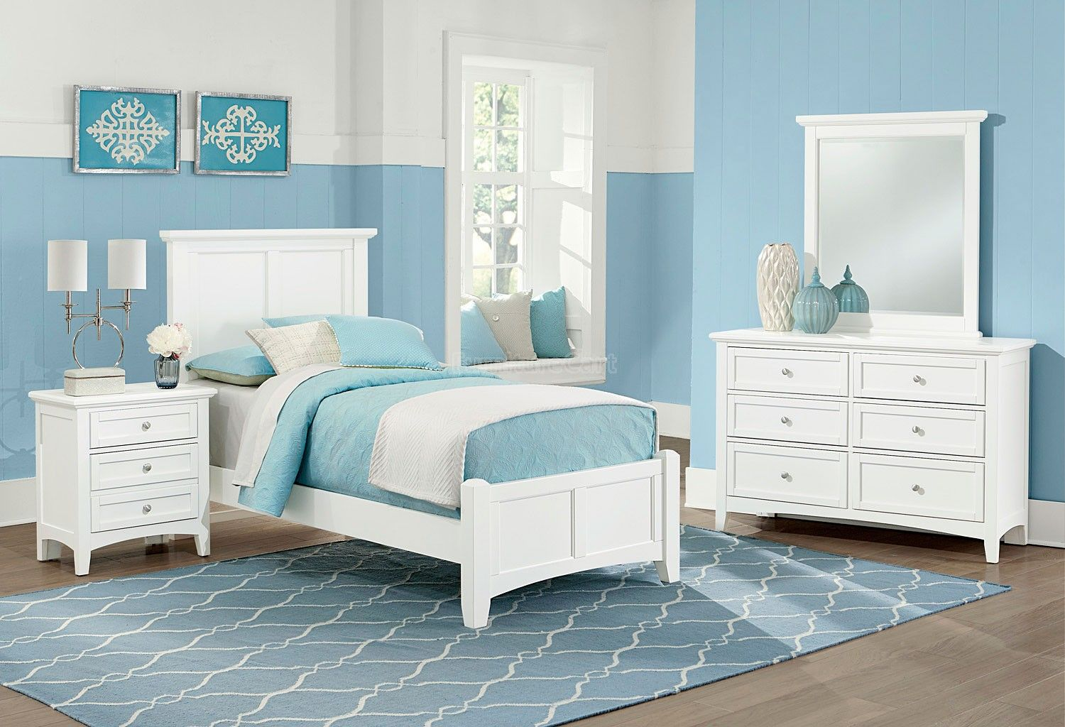 Bonanza Youth Mansion Bedroom Set (White) Twin bedroom