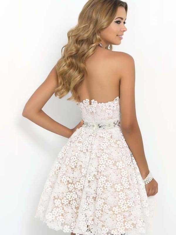 6d874e4a88 A-Line Princess Lace Sweetheart Sleeveless Rhinestone Short Mini Dresses
