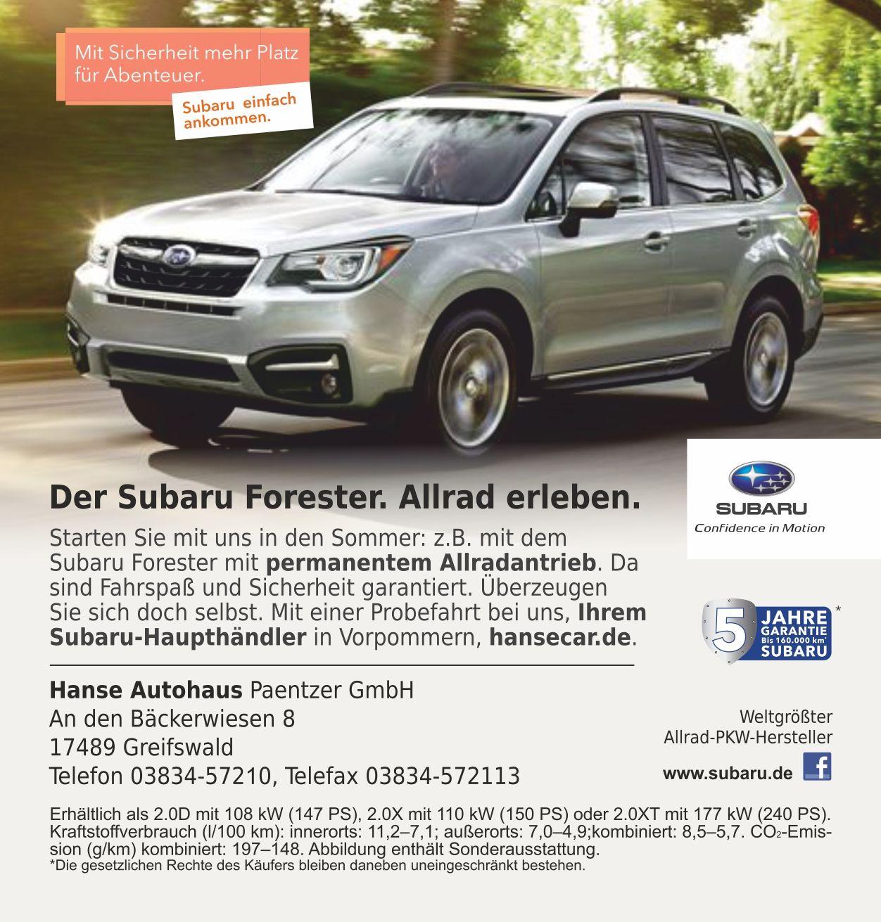 Anzeige Hanse Autohaus Subaru