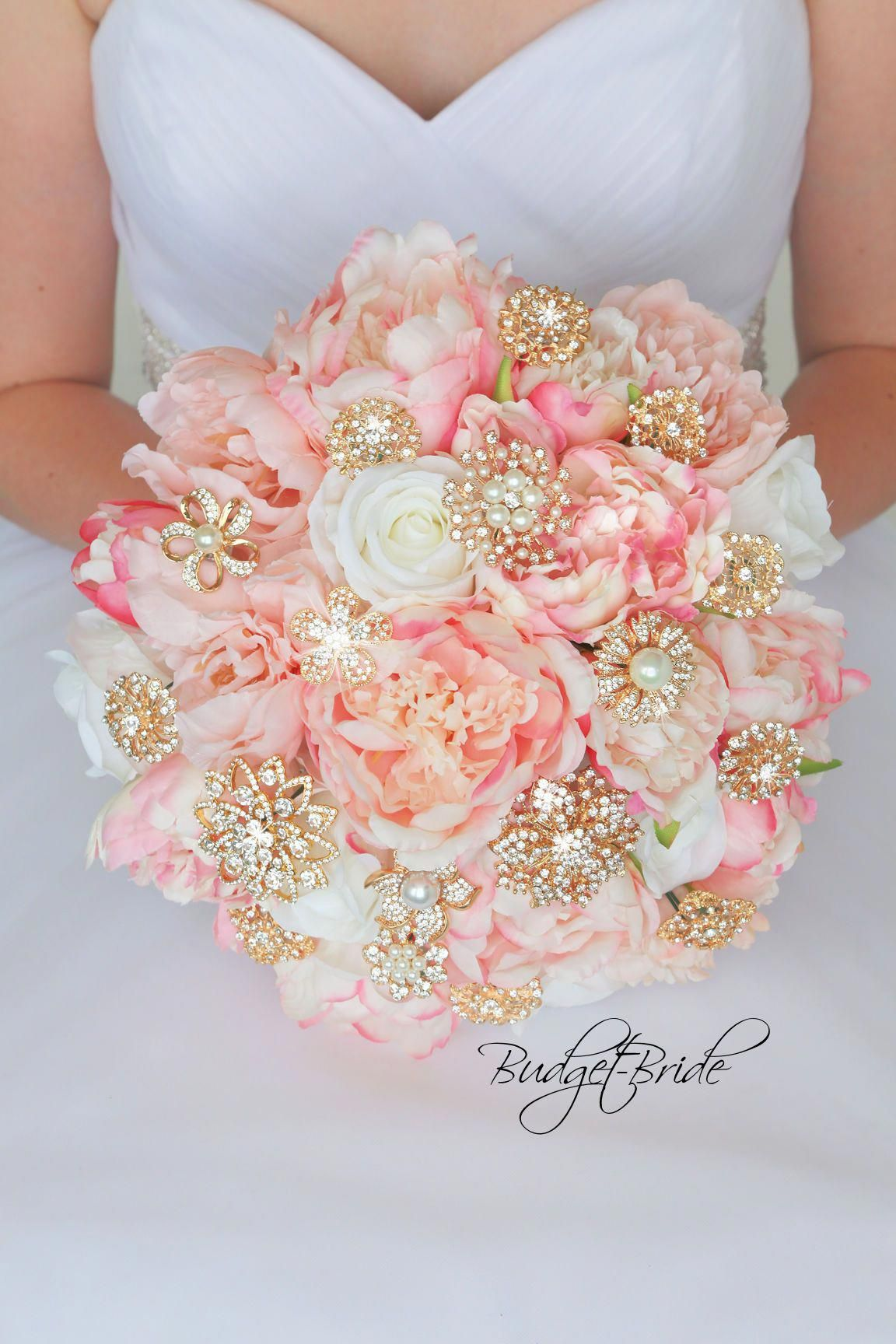 8f19e309de5 Gold and Blush Davids Bridal Wedding Bouquet with brooches  bridalplanner
