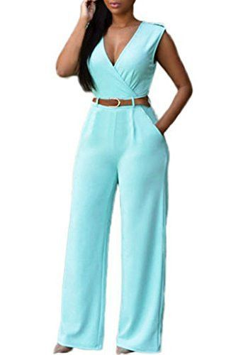 70147e1c68d Women V Neck Jumpsuit Belted Sleeveless Wide Leg Jumpsuit