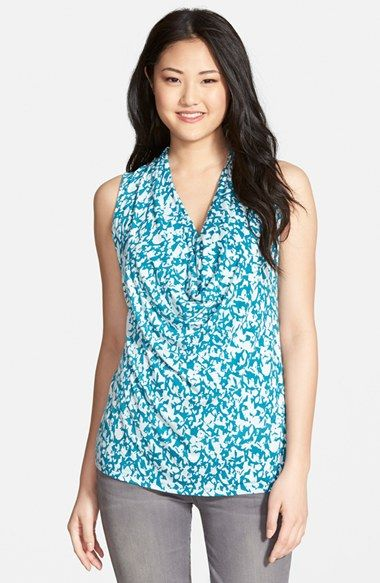 5e42c380104e Halogen® Sleeveless Drape Neck Top (Regular & Petite) - Stock. Up. Love  this turquoise and white pattern, but there's also a burgundy-beige and a  navy-pink ...