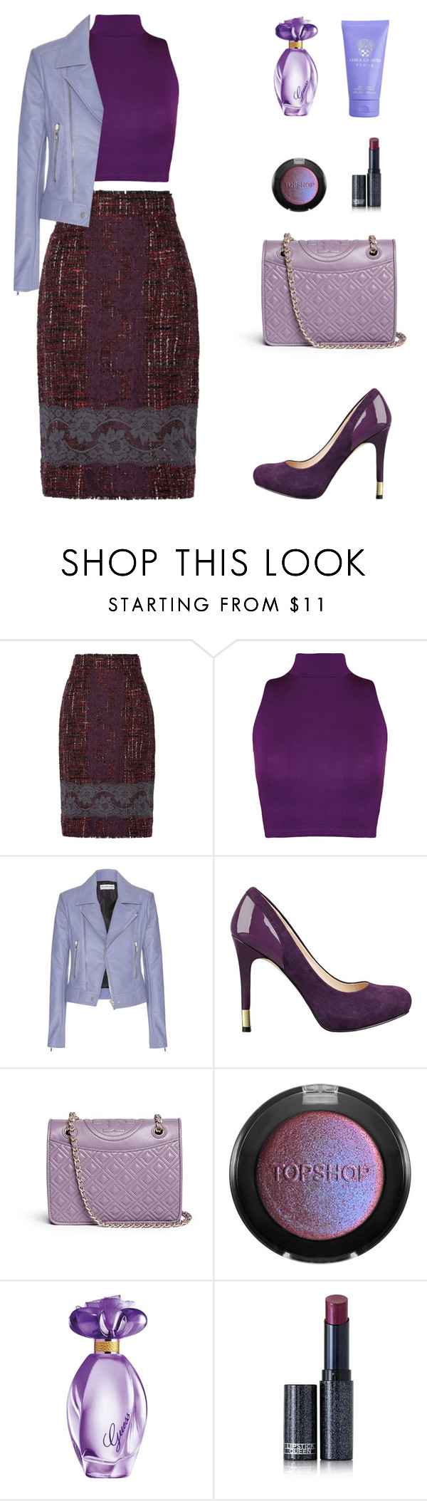 """""""Lavender"""" by amlhrs ❤ liked on Polyvore featuring Dolce&Gabbana, WearAll, Balenciaga, GUESS, Tory Burch, Topshop, Lipstick Queen, Vince Camuto, women's clothing and women"""