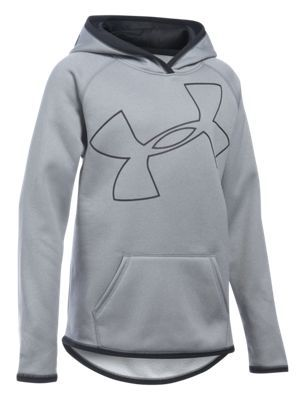 best service 47b2c 61b5b Under Armour Armour Fleece Jumbo Logo Hoodie for Girls - True Gray Heather Black  - XL