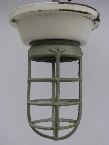 Old enamel fixture cage light huge vintage industrial lighting old enamel fixture cage light huge vintage industrial lighting lamp mozeypictures Images
