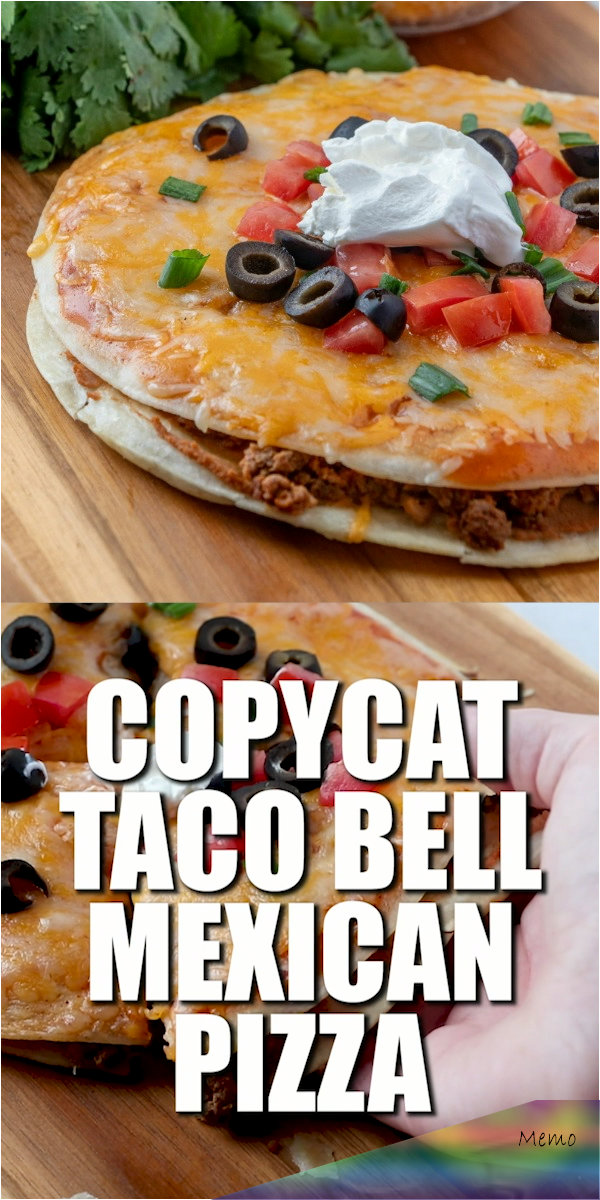This Taco Bell Mexican Pizza recipe is made with fried tortillas, refried beans,...