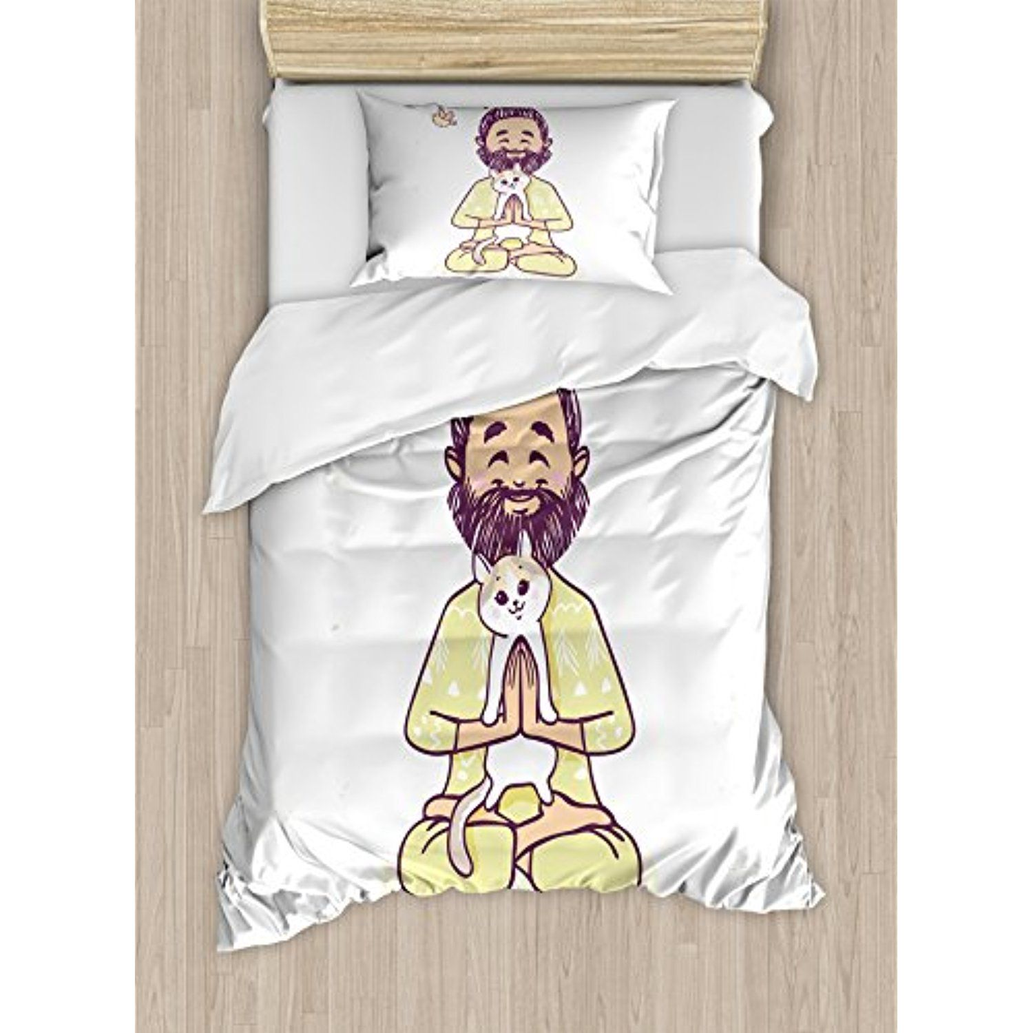 Funny twin size duvet cover set by ambesonne positive man with cat