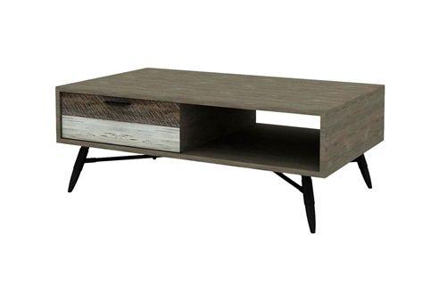 Table Basse 2 Tiroirs Gris Et Blanc Vieilli Table Basse Amenagement Interieur Et Tiroir