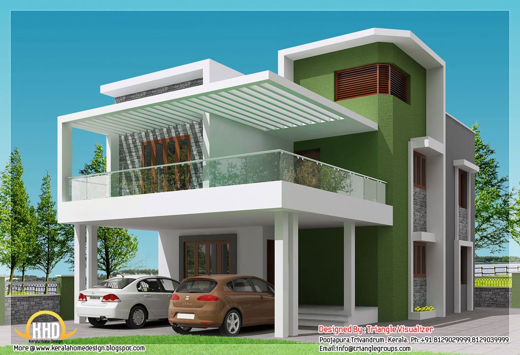 Simple modern home square feet bedroom contemporary kerala for Home front design photo