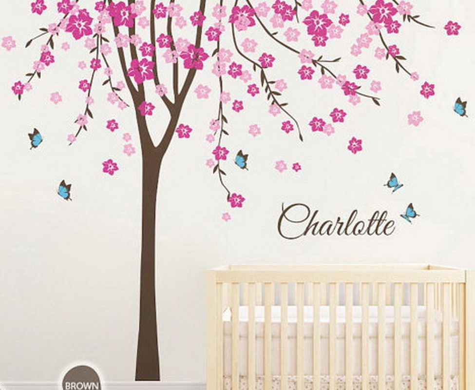 Plum Flower Blossom Tree Butterfly Personalized Custom Name Wall - Personalized custom vinyl wall decals for nursery