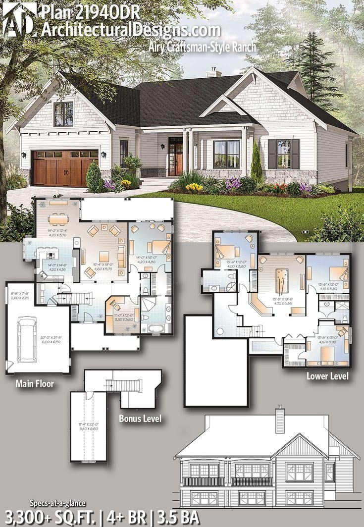 #21940DR  #adhouseplans  #architecturaldesigns  #houseplan  #architecture  #newhome  #newconstruction  #newhouse  #homedesign  #dreamhome  #homeplan  #architecture  #architect  #housegoals   #craftsmanranch  #craftsmanhome  #craftsmandesign   #Designs #House Architectural Designs House Plan 21940DR gives you 4 beds, 3.5 baths and over 3,300 sq. ft. of heated living space PLUS a bonus room over the garage. Ready when you are. Where do YOU want to build?