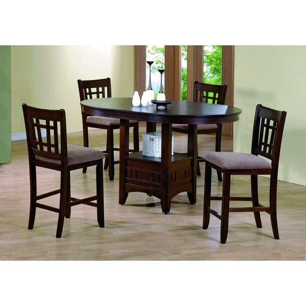 Crown Mark Empire Counter Height Table Set Walnut Dining Chairs