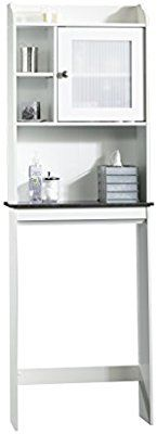 Amazon Com Sauder Caraway Etagere Bath Cabinet Soft White Finish Kitchen Dining With Images Toilet Storage Large Bathrooms Bathroom Storage