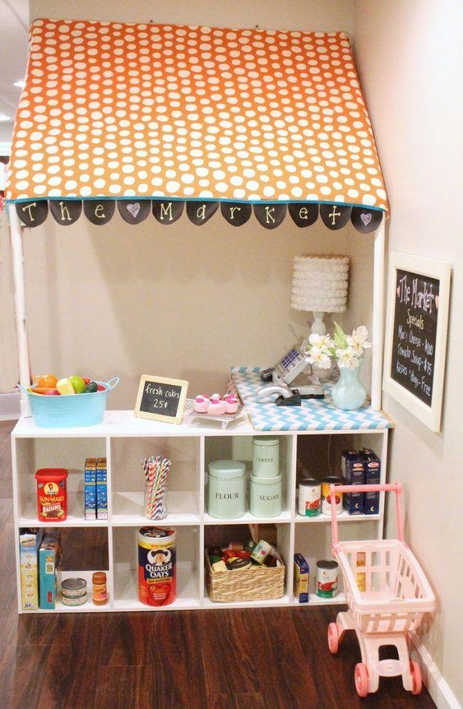 kinder kaufladen zuhause kinderzimmer ecke geschäftsmarkise pvc