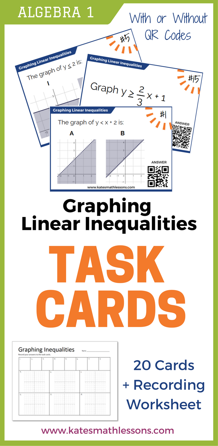 graphing linear inequalities task cards set of 20 cards with and without qr codes includes inequalities in one and two variables and inequalities in - Graphing Linear Inequalities Worksheet