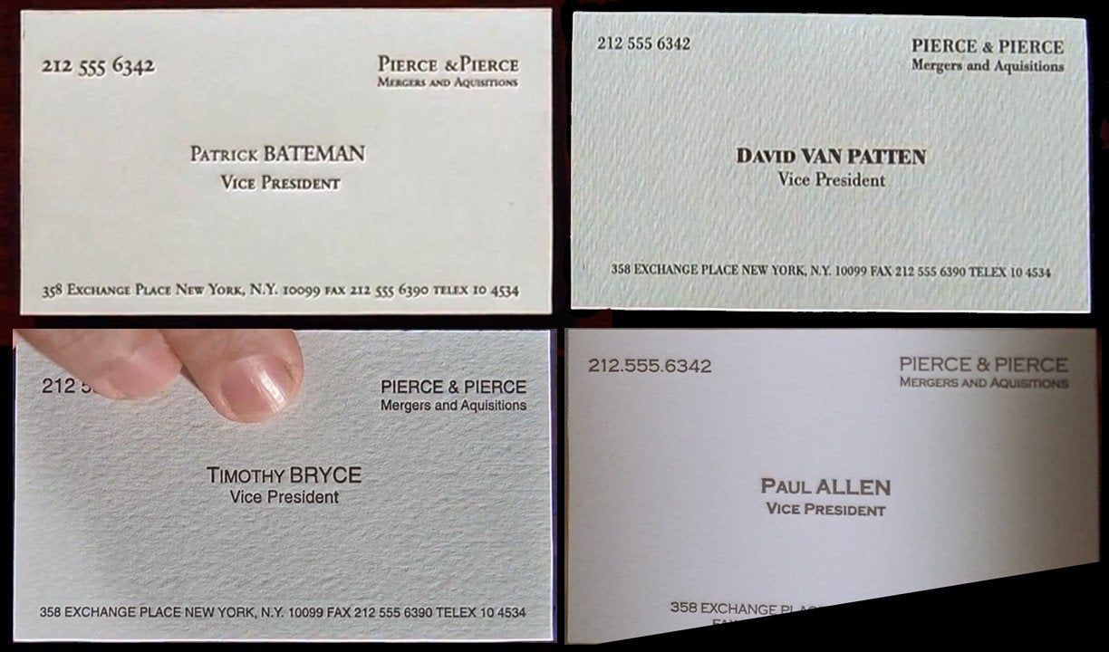 In American Psycho 2000 All The Characters Have The Exact Same Title And Contact Information On Business Card Fonts Business Card Template American Psycho