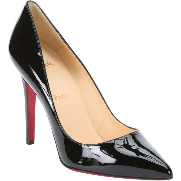 Christian Louboutin Black Patent Leather 'pigalle 100' Pumps... (11,085 MXN) ❤ liked on Polyvore featuring shoes, pumps, black, black patent leather shoes, high heel pumps, pointed toe high heel pumps, black patent shoes and black pumps