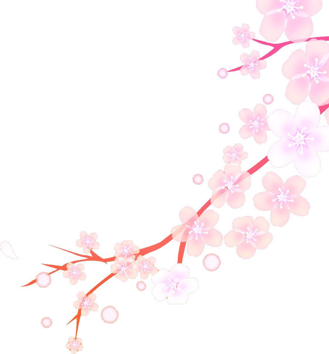 ピンク花のイラスト,桜・枝・淡い