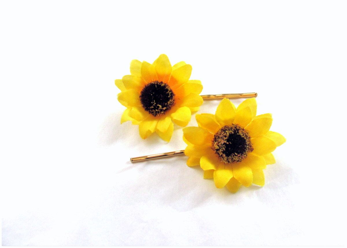 c5cd02d65f603 Sunflower bobby pins, small sunflower hair clips, yellow hair ...