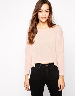 Only Cropped Top With 3/4 Sleeves