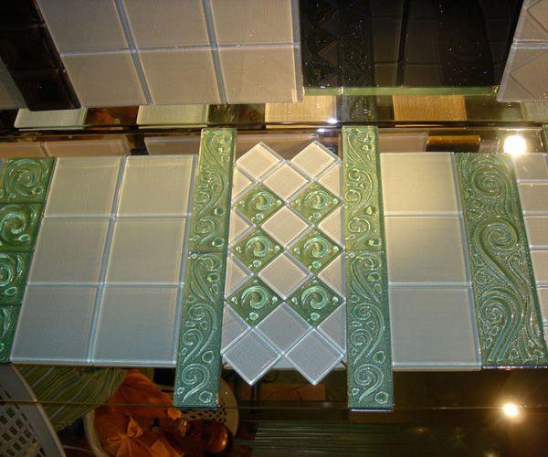 Glass Sinks & Tiles | Studio GlassWorks, LLC. Kiln-Formed Back Painted Floor Tiles