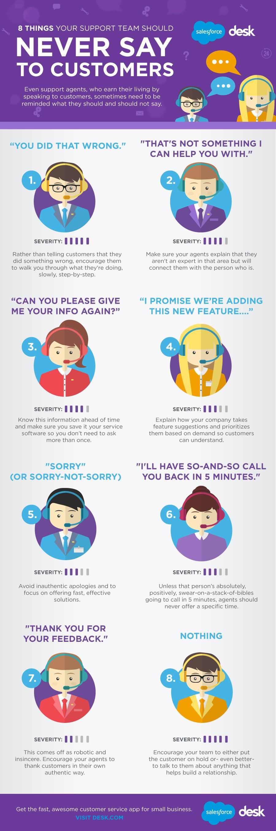 8 Things Your Customer Service Team Should Never Say To Customers #infographic