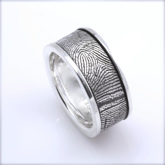 12mm Sterling Silver Custom Fingerprint WeddingCommitment Band with