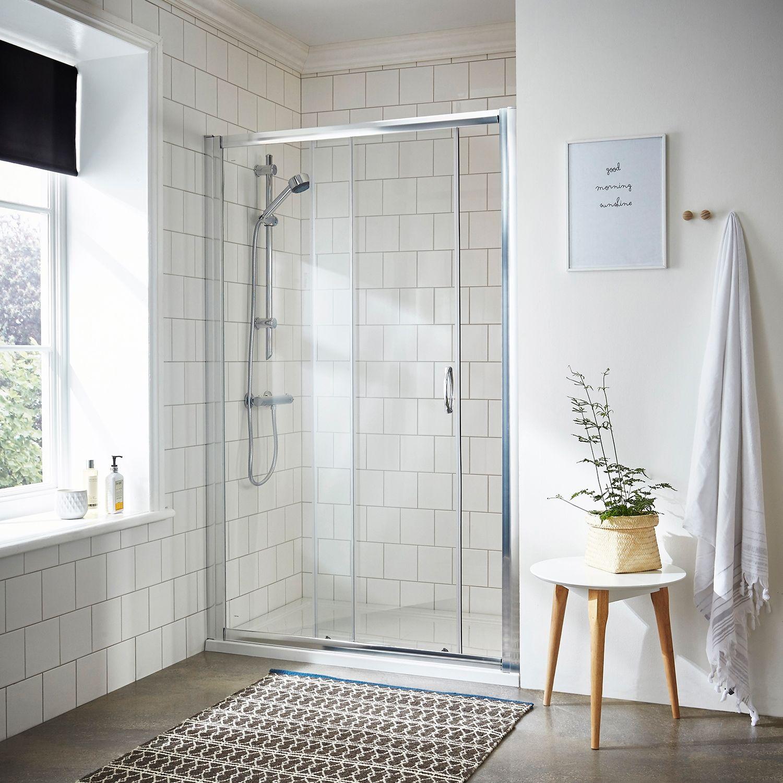 Nuie Ella Sliding Shower Door Ersl12 1200mm Satin Clear Sleek Bathroom Shower Doors Sliding Shower Door
