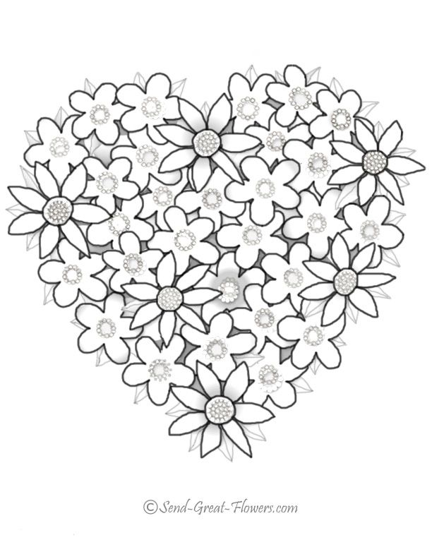 Printable  Coloriages Coeurs   Coloring Flower and Hope
