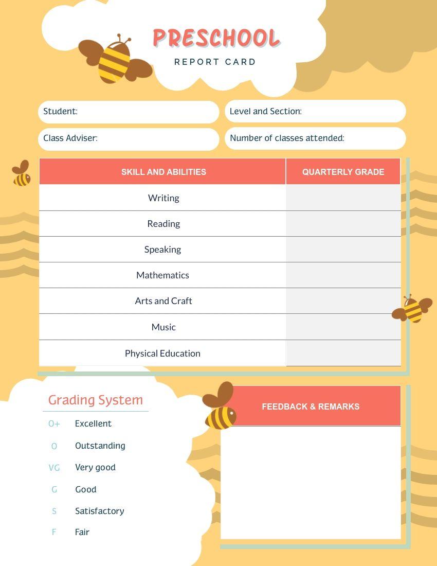 Bee preschool report card template visme inside