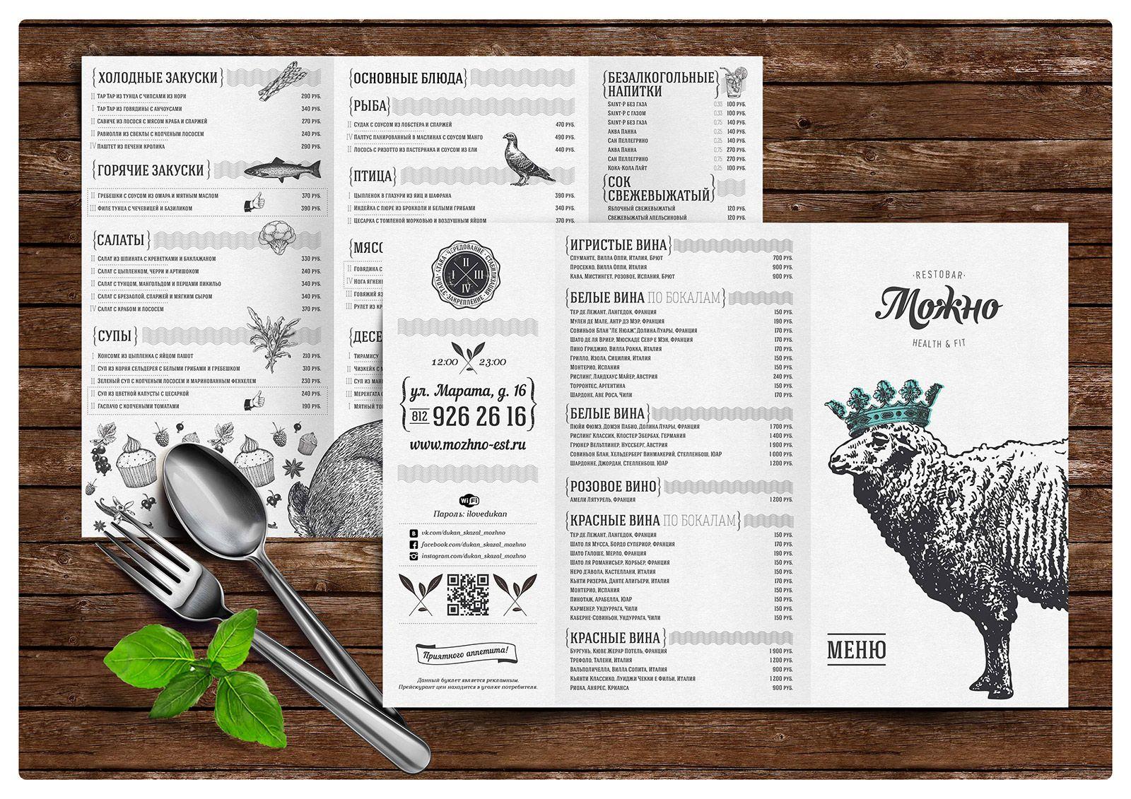 Образцы меню для кафе в картинках