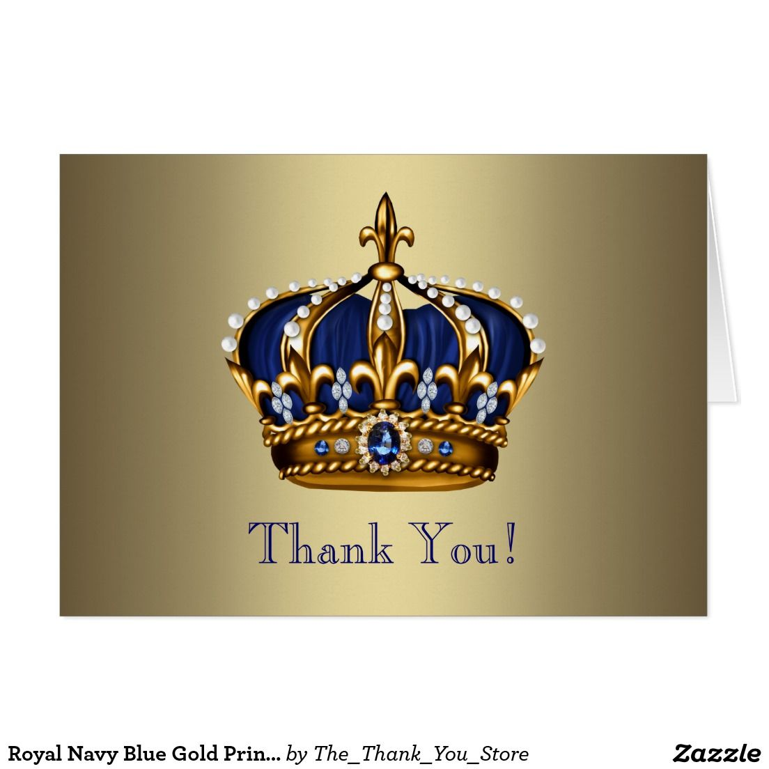 Royal Navy Blue Gold Prince Crown Thank You Cards Baby Shower