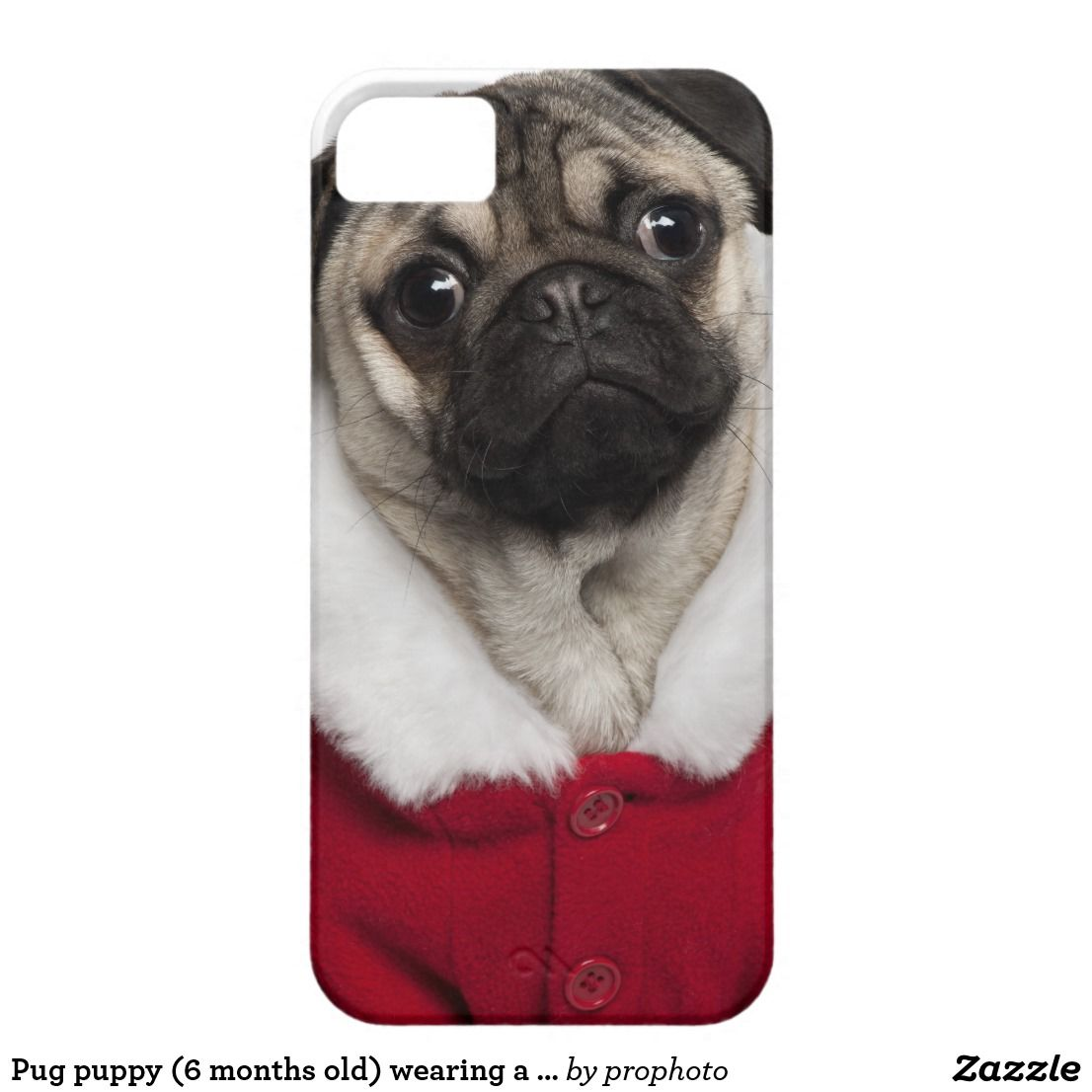 Pug Puppy 6 Months Old Wearing A Christmas Case Mate Iphone Case