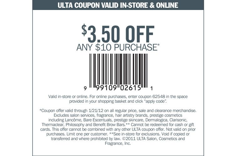 Printable Ulta Beauty Coupon 3 50 Off Of A 10 Purchase Valid Now Through January 21 2012 In Store Or Online Ulta Coupon Ulta Coupons
