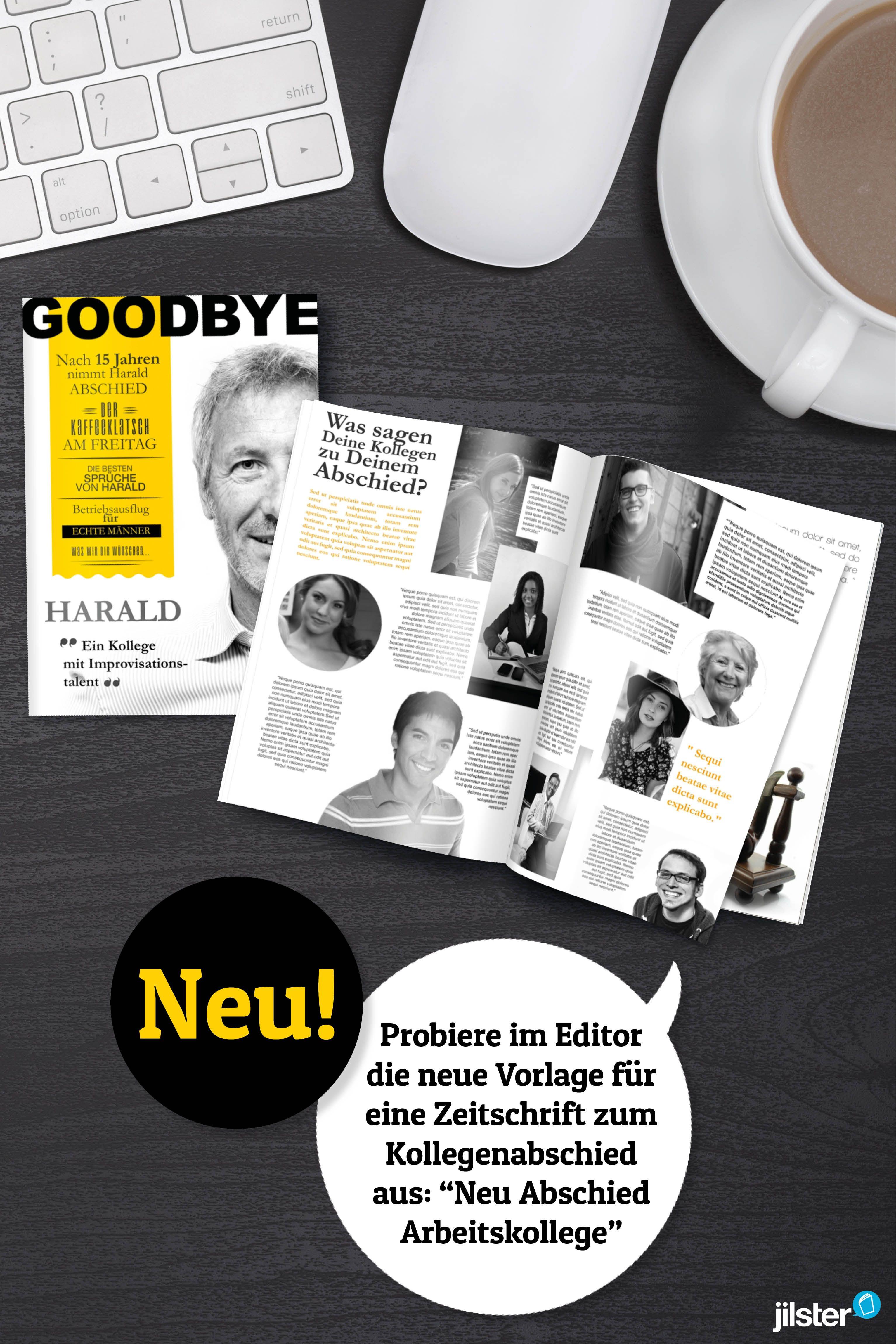 Neue Vorlage für eine Abschiedszeitung für einen Kollegen ...