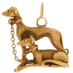 Image 1 Vintage Dog - Greyhounds 14k Gold Charm These 14k greyhounds are attached by a chain; the one standing and the other sitting. The perfect charm for any greyhound lover..