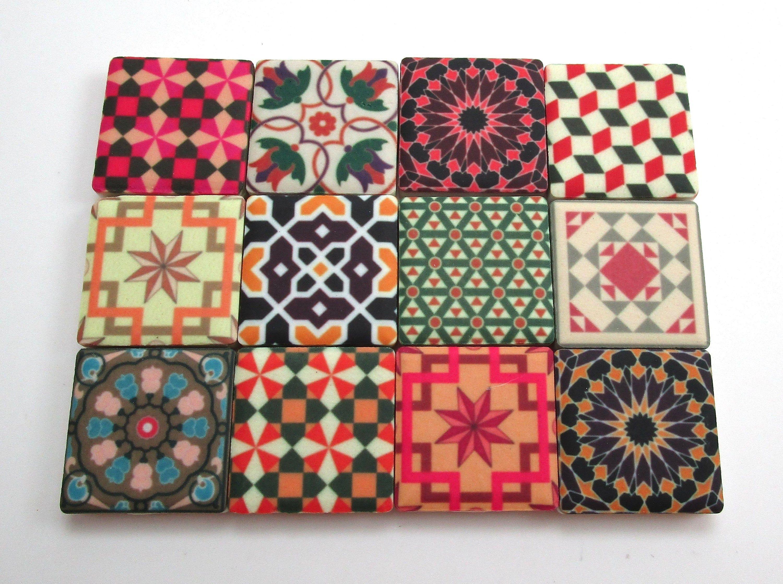 Ceramic Mosaic Tiles Premium Matte Finish 1 Inch Tiles 12 Piece Set Vintage Traditional Moroccan Tiles Mosaic T Mosaic Tiles Ceramic Mosaic Tile Mosaic Art