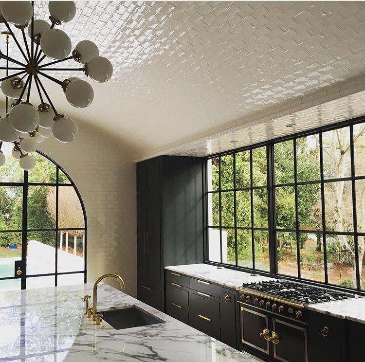 Windows Calcutta Gold Marble Black Cabinets Brass Hardware Barrel Vaulted Tile Ceiling La Tile Kitchen Remodel Melanie Turner Interiors Home Decor Kitchen
