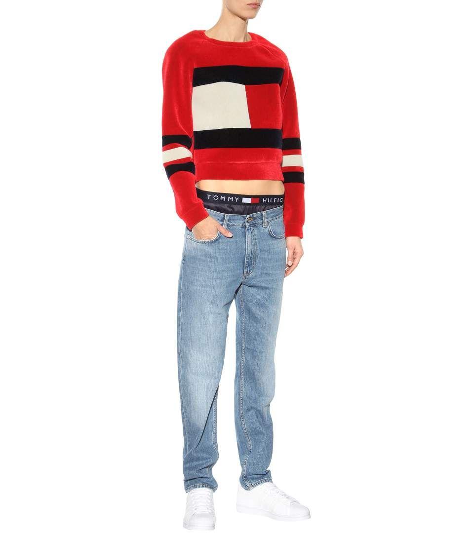 Flag Scuba red, white and navy velvet sweater