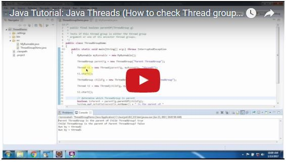 Java Tutorial Java Threads How To Check Thread Group Is The