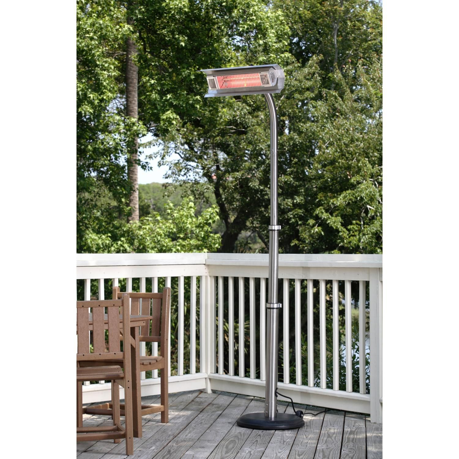 Fire Sense 1500 Watt Electric Infrared Patio Heater With Telescoping Offset  Pole And PVC Cover