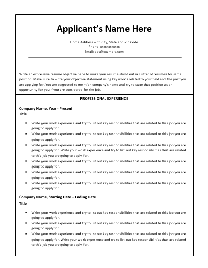 Chronological Resume Template | Developing a Killer Resume ...