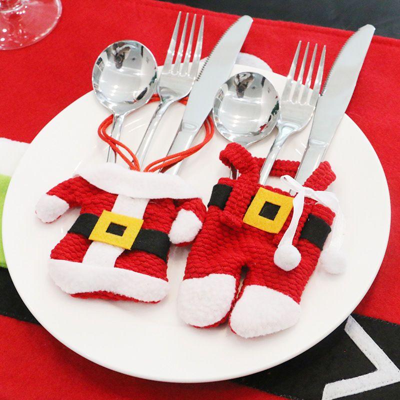 Cute Christmas Tableware Silverware Suit Christmas Dinner Party Decor Pocket Christmas Dinner Party Decorations Christmas Table Decorations Dinner Party Decorations
