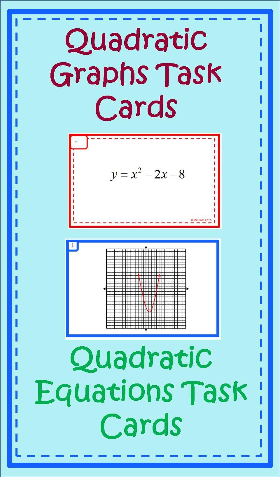 Quadratic Task Cards-Properties of Graphs, and Solving Quadratics ...