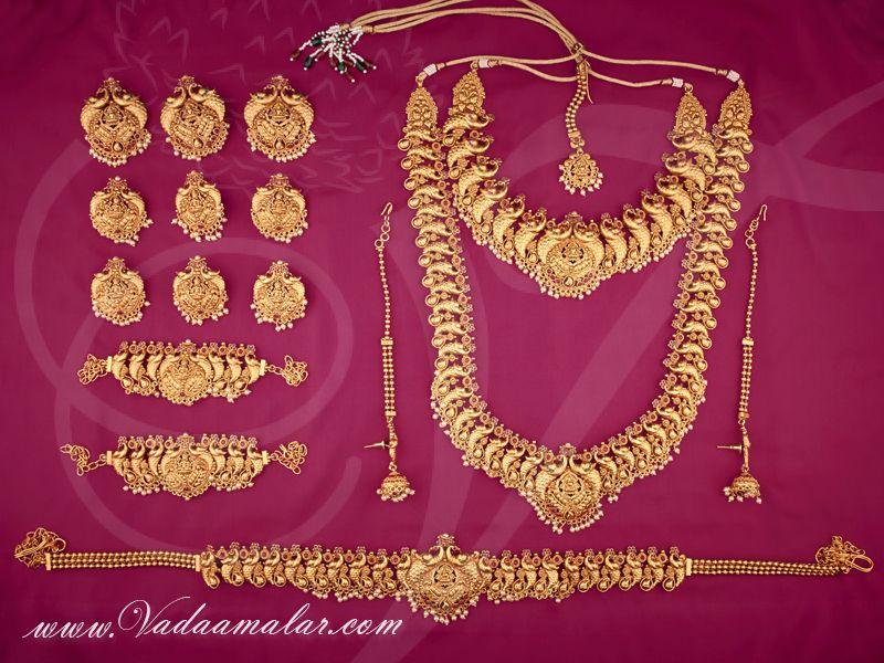 Matt Finish Lakshmi Design Bridal Jewellery Set Buy Traditional Indian Jewel Sets Online Simple Bridal Jewelry Bridal Jewelry Sets Indian Bridal Jewelry Sets